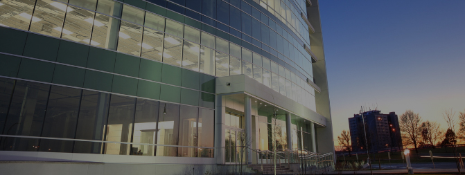 office building with glass front